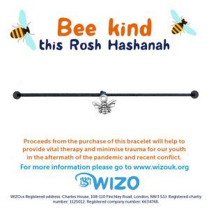 Bee Kind bracelet backing with sample